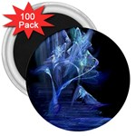 Gothic Blue Ice Crystal Palace Fantasy 3  Magnet (100 pack)