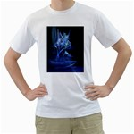 Gothic Blue Ice Crystal Palace Fantasy White T-Shirt