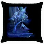 Gothic Blue Ice Crystal Palace Fantasy Throw Pillow Case (Black)
