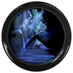 Gothic Blue Ice Crystal Palace Fantasy Wall Clock (Black)