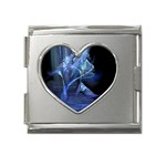 Gothic Blue Ice Crystal Palace Fantasy Mega Link Heart Italian Charm (18mm)