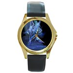 Gothic Blue Ice Crystal Palace Fantasy Round Gold Metal Watch