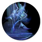 Gothic Blue Ice Crystal Palace Fantasy Magnet 5  (Round)