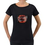 Bloody Gothic Demon Skull Moon Goth Art Maternity Black T-Shirt