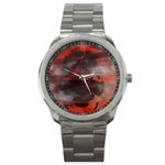 Bloody Gothic Demon Skull Moon Goth Art Sport Metal Watch