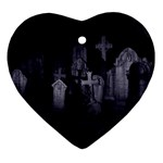 Gothic Graveyard Graves at Night Dark Goth Ornament (Heart)