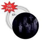 Gothic Graveyard Graves at Night Dark Goth 2.25  Button (100 pack)
