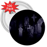 Gothic Graveyard Graves at Night Dark Goth 3  Button (100 pack)