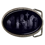 Gothic Graveyard Graves at Night Dark Goth Belt Buckle