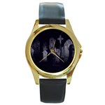 Gothic Graveyard Graves at Night Dark Goth Round Gold Metal Watch