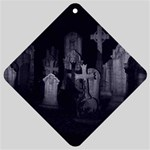 Gothic Graveyard Graves at Night Dark Goth Car Window Sign