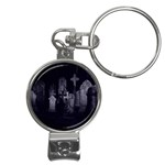 Gothic Graveyard Graves at Night Dark Goth Nail Clippers Key Chain