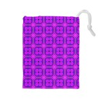 Abstract Dancing Diamonds Purple Violet Drawstring Pouches (Large)