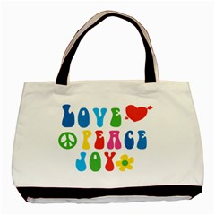 Love Peace Joy Basic Tote Bag (two Sides)