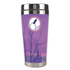Abstract Tropical Birds Purple Sunset Stainless Steel Travel Tumblers by WaltCurleeArt