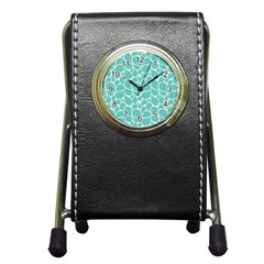 Blue Abstract Water Drops Pattern Pen Holder Desk Clocks