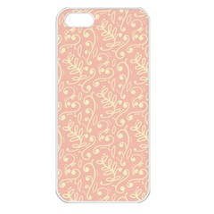 Girly Pink Leaves And Swirls Ornamental Background Apple Iphone 5 Seamless Case (white)
