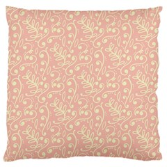 Girly Pink Leaves And Swirls Ornamental Background Large Flano Cushion Case (one Side)