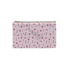 Cute Pink Birds And Flowers Pattern Cosmetic Bag (small)  by TastefulDesigns