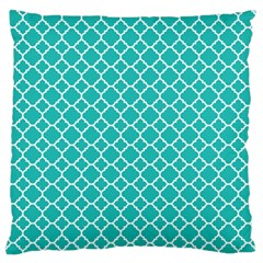 Turquoise Quatrefoil Pattern Large Flano Cushion Case (two Sides) by Zandiepants