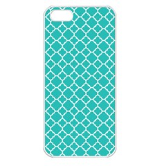 Turquoise Quatrefoil Pattern Apple Iphone 5 Seamless Case (white) by Zandiepants