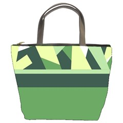 Abstract Jungle Green Brown Geometric Art Bucket Bags from CircusValley Mall Front