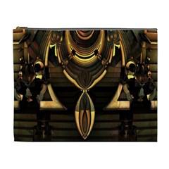 Golden Metallic Geometric Abstract Modern Art Cosmetic Bag (xl) by CrypticFragmentsDesign