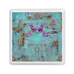 Retro Hippie Abstract Floral Blue Violet Memory Card Reader (square)  by CrypticFragmentsDesign