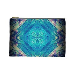 Boho Hippie Tie Dye Retro Seventies Blue Violet Cosmetic Bag (large)  by CrypticFragmentsDesign