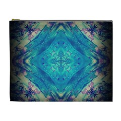 Boho Hippie Tie Dye Retro Seventies Blue Violet Cosmetic Bag (xl) by CrypticFragmentsDesign