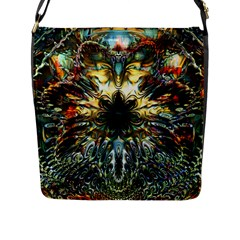 Metallic Abstract Flower Copper Patina Flap Messenger Bag (l)  by CrypticFragmentsDesign