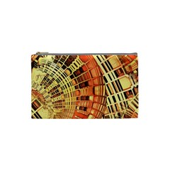 Semi Circles Abstract Geometric Modern Art Orange Cosmetic Bag (small)  by CrypticFragmentsDesign