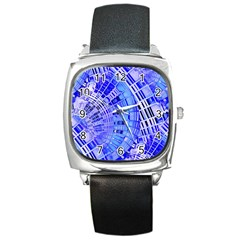 Semi Circles Abstract Geometric Modern Art Blue  Square Metal Watch by CrypticFragmentsDesign