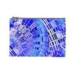 Semi Circles Abstract Geometric Modern Art Blue  Cosmetic Bag (large)  by CrypticFragmentsDesign