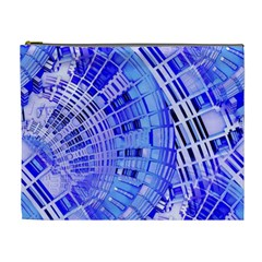 Semi Circles Abstract Geometric Modern Art Blue  Cosmetic Bag (xl) by CrypticFragmentsDesign