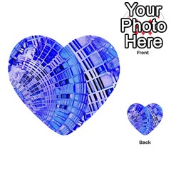Semi Circles Abstract Geometric Modern Art Blue  Multi Purpose Cards (heart)  by CrypticFragmentsDesign