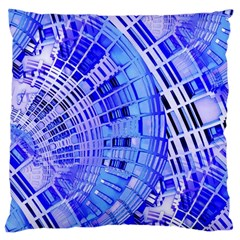Semi Circles Abstract Geometric Modern Art Blue  Large Cushion Case (two Sides) by CrypticFragmentsDesign