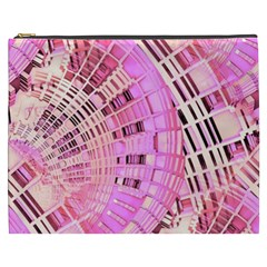 Pretty Pink Circles Curves Pattern Cosmetic Bag (xxxl) by CrypticFragmentsDesign