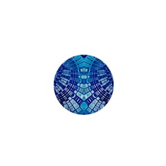 Blue Mirror Abstract Geometric 1  Mini Buttons by CrypticFragmentsDesign