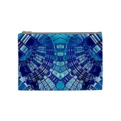Blue Mirror Abstract Geometric Cosmetic Bag (medium)  by CrypticFragmentsDesign