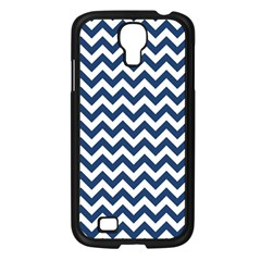 Navy Blue & White Zigzag Pattern Samsung Galaxy S4 I9500/ I9505 Case (black) by Zandiepants