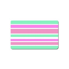 Pink Green Stripes Magnet (name Card) by BrightVibesDesign