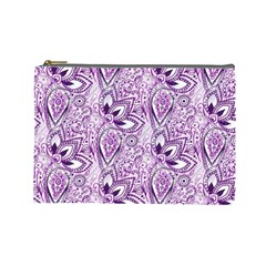 Purple Paisley Doodle Cosmetic Bag (large)  by KirstenStar