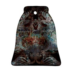 Metallic Copper Patina Urban Grunge Texture Bell Ornament (two Sides) by CrypticFragmentsDesign