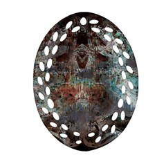 Metallic Copper Patina Urban Grunge Texture Oval Filigree Ornament (two Sides) by CrypticFragmentsDesign