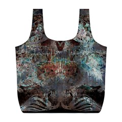 Metallic Copper Patina Urban Grunge Texture Full Print Recycle Bag (l) by CrypticFragmentsDesign