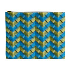 Blue And Yellow Cosmetic Bag (xl) by FunkyPatterns