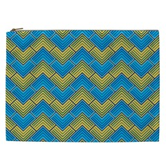 Blue And Yellow Cosmetic Bag (xxl)  by FunkyPatterns