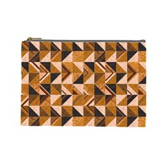 Brown Tiles Cosmetic Bag (large)  by FunkyPatterns