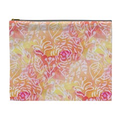 Sunny Floral Watercolor Cosmetic Bag (xl) by KirstenStar